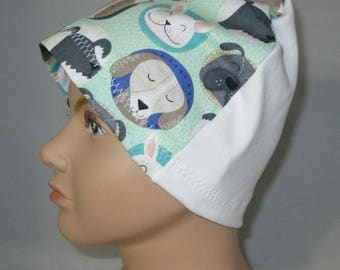 Kid's  Chemo Hat, Dog Print  Kid'sCancer Cap, Alopecia, Sleep Cap Free Ship USA