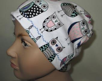Kids  Owls Print  Children Size  Hat -Chemo, Cancer, Alopecia,Sleep Cap