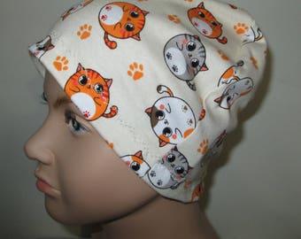 Kid's Chemo Hat Tabby Cats Children's Cancer Cap, Alopecia, Sleep Cap