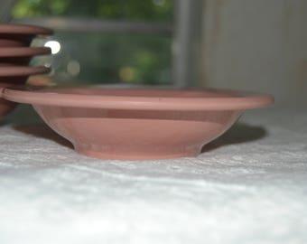 Vintage Mid Century Pink Boontonware Melmac Melamine Berry Bowls Set of 5