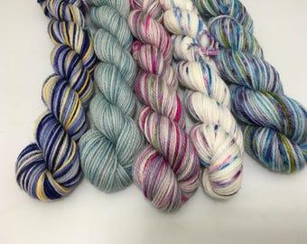 Sunrises - Fantasia-2017-07 - 500 Yards - Ready to Ship - Hand Dyed - Merino Wool Yarn - Fingering Weight - Mini Skeins