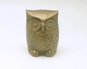 Vintage Owl Figurine Brass Miniature Mid Century