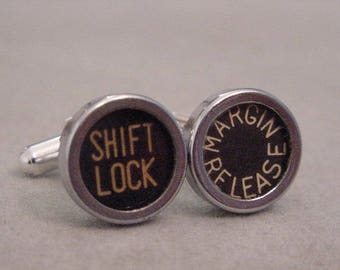 Vintage Typewriter key Cuff links  SHIFT LOCK  MARGIN Release - Men's Cuff Links Mens  jewelry gift recycled cuff links