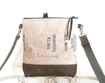 US Mint, military canvas crossbody, iPad bag - hand dyed- eco vintage fabr
