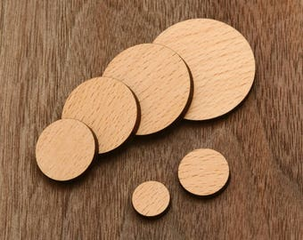 8 pcs Round Disk Slice Wood Charm, Supplies, Cabochons (WC  317)