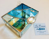 Beautiful ocean themed jewelry trinket stained glass box with a seahorse and decorative wire details.