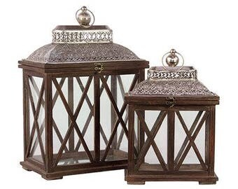Lattice Lantern - Rustic Brown