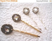 CLEARANCE - Vintage metal hairpins, oval hairpins,  sparkly rhinestone hair-pins,  hair accessory, womens accessory