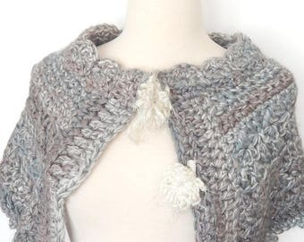 CLEARANCE - Noelani capelet, grey shrug, blue shug, crochet shrug, winter wear,  fashion accessory, womens accessory, winter wear, winter ac