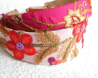Bright floral embroidered fabric headbands, headbands for women, hair accessory,