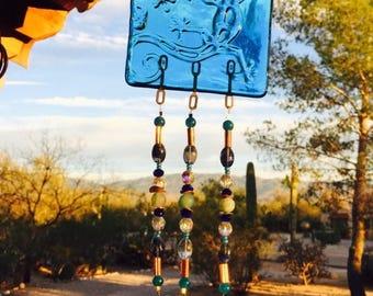 Sale Lizard Windchime Blue Glass