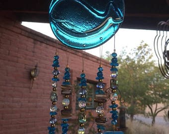 FLASH SALE Windchime Whale Blue Stained Glass