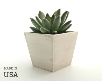 White Wood Succulent Planter, Cottage Rustic Chic Decor, White Distressed Finish