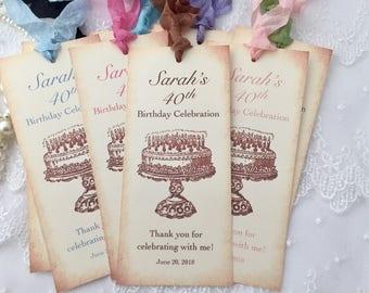 Birthday Bookmark Favors, Happy Birthday Bookmarks, Set of 10, 30th Birthday Favors, 40th Birthday Favors, 50 Birthday Favors