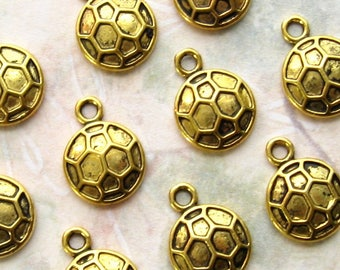 Gold Soccer Ball Charms 14mm - Set of 10 - Antique Gold Football Charms, Gold Sports Pendants, Lead-Free, Nickle-Free, (BC0058)