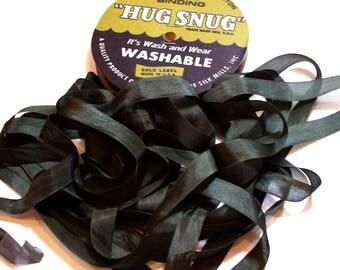 Hug Snug Dark Olive Green Rayon Seam Binding 1/2 inch wide x 100 yards, Dark Olive Green Seam Binding