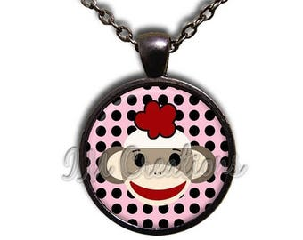 20% OFF - Sock Monkey Polka Dots Glass Dome Pendant or with Chain Link Necklace  AN187