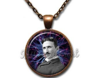 20% OFF - Nikola Tesla Inventor Glass Dome Pendant or with Chain Link Necklace VT121