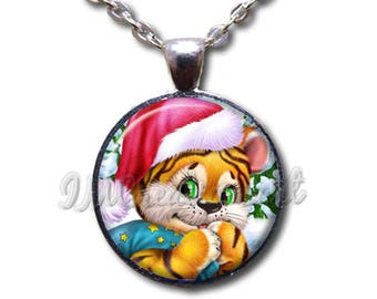 Christmas Holiday Tiger Cub Santa Glass Dome Pendant or with Chain Link Necklace HD276