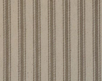 Taupe Ticking Material   Ticking Stripe Material   Vintage Inspired Ticking Material   Twill Ticking Material   29 x 44