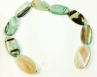 Flat Oval Striped Blue Green Agate Bead- Strand of Eight Beads