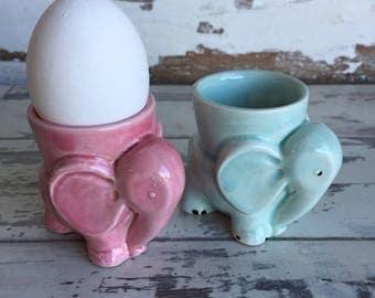Vintage Egg Cups Elephants Pottery Aqua and Pink c. 1940s 1950s