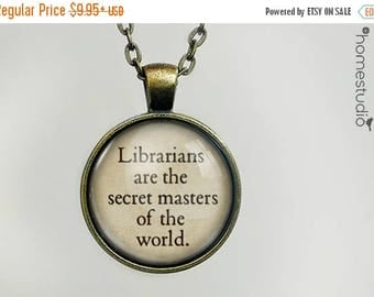ON SALE - Librarian (World) Quote jewelry. Necklace, Pendant or Keychain Key Ring. Perfect Gift Present. Glass dome metal charm by HomeStudi
