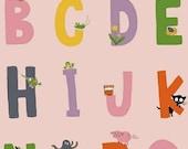 SALE Heather Ross Kinder Alphabet Pink