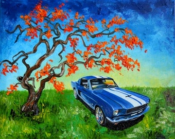 1960's Blue Ford Mustang, original oil painting, 1966, fathers day, gift, christmas, present, men, man, red tree