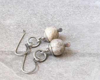 fossilized coral earrings, rustic earrings, metalwork earrings, boho drop earrings, beige coral earrings