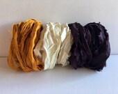 Silk Sari Ribbon-Orange Gold, Antique White, Plum Sari Ribbon-9 Yards