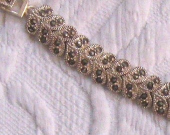 sterling marcasite bracelet . sterling heart bracelet . marcasite heart bracelet . heart bracelet