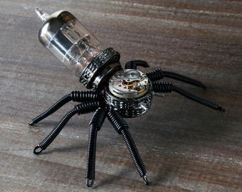 Steampunk Retro-futurist Spider sculpture with recycled watch movement vacuum tube insect cyberpunk artwork clockwork upcycling
