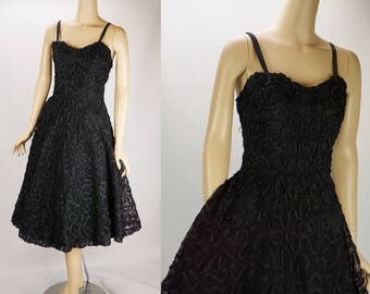 Vintage 1950s Party Dress Black Full Skirt Ribbon Formal by Smart Miss B40 W30