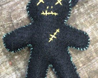 Felt plush hoodoo / voodoo doll keychain