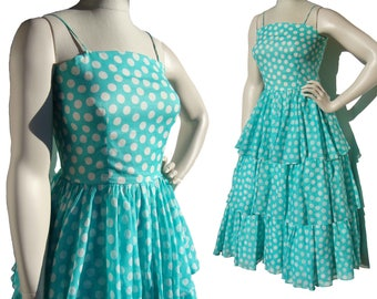 Vintage 80s Party Dress Albert Nipon Ruffled Polka Dot Turquoise & White S / M