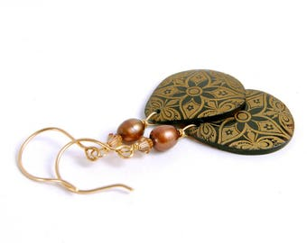 Gold Dangle Earrings, Shell Teardrops, Brown Tribal Boho Chic Jewelry Gifts for Her Under 25