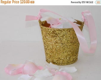 """15% off ends at 5pm Flower Girl Basket + Gold Glitter Flower Girl Basket with ribbon Handle (4 1/2"""" x 4 7/16""""x 3 3/8"""")"""