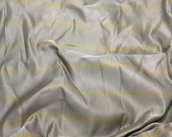 Raw Silk Fabric - Taupe Gray with Gold Stripes 1 Yard