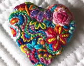 Freeform embroidery heart brooch  Brooch #195