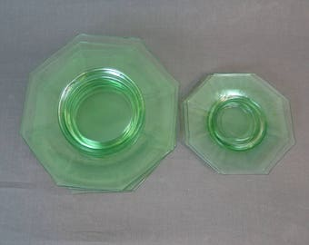 Vintage Green Depression Glass Plates, Dishes, 2 Saucers, 4 Salad Plates, 8 sided Octagonal