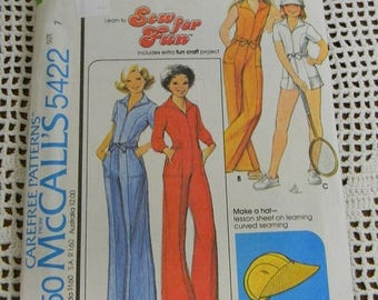 Christmas in July Vintage  McCall's Juniors Jumpsuit and Hat Pattern N5422, uncut Size 7