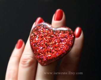 Huge Red Heart Ring as seen worn by Miley Cyrus on The Tonight Show, Red Glitter Love Heart Ring, Statement Ring Made by isewcute on Etsy