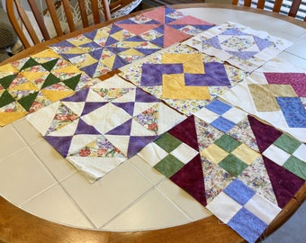 Quilt Squares, Set of Eight, Cotton, 12 Inch Squares Pieced Quilting, Pink, Purple, Yellow, Green and Purple