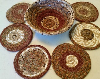 6 Coiled Fabric Coasters and 6 Inch Bowl Set, Candle Mat, Trivet,  Mug Rug - browns - Home and Living, Kitchen,  handmade