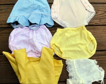 Lot of Vintage Baby Hats, Diaper Covers and Under Slip