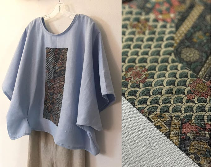 oversized heather blue heavy linen top with vintage kimono panel seigaiha waves ready to wear