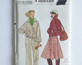 1970s Vintage Vogue Sewing Pattern 9911 Womens Blouson Jacket, Raglan Sleeves, Pointed Collar, Straight Leg Pants & Flared Skirt Size 14