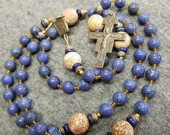 SALE Rosary Blue Lapis Matte Bronze St Francis of Assisi San Damiano HeartFelt Rosaries