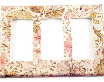 Switch Plate  Wall Decor  Triple Rocker Switch Plate  Ivory Floral  (285TR)